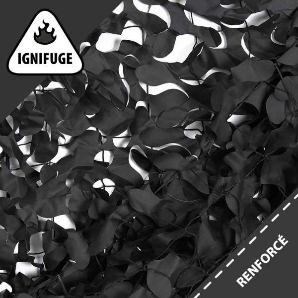 Filet de Camouflage Noir Ignifugé & Renforcé